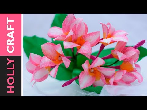 Paper Flower Making : Realistic looking plumeria out of cheap paper