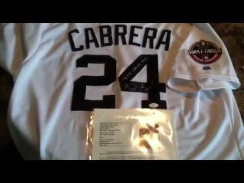 Miguel Cabrera Signed Detroit Tigers Triple Crown MVP Baseball Jersey JSA COA