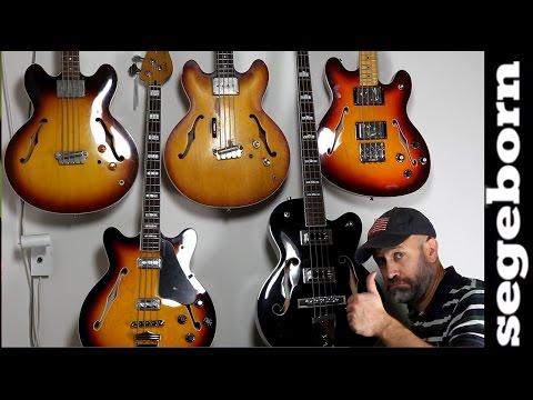 5 Semi Acoustic Basses Comparison- Shootout - EB2 Vs Rivoli Vs Starcaster Vs Coronado Vs Gretsch