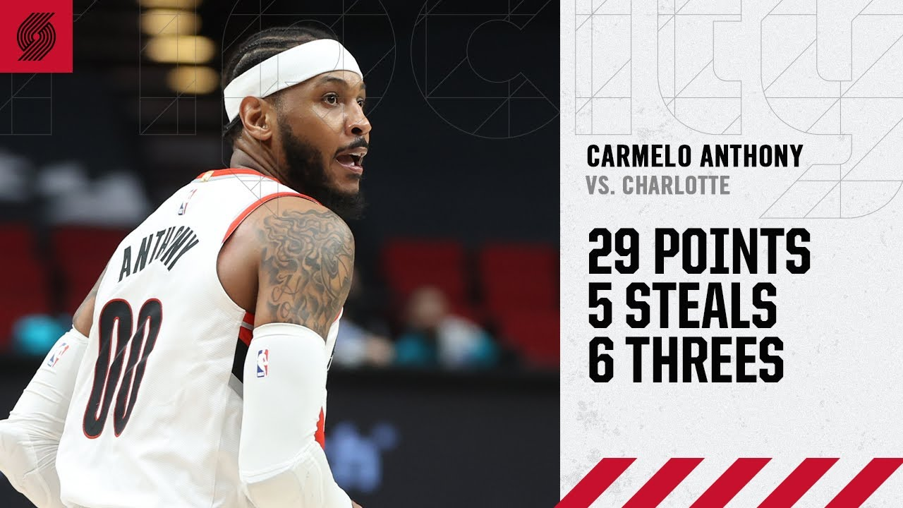 Carmelo Anthony (29 PTS, 5 STL) Highlights | Trail Blazers vs. Hornets
