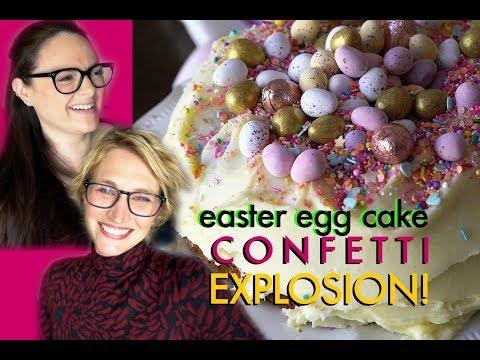 THIS CAKE IS SO FUN! Confetti Easter Egg Cake Recipe