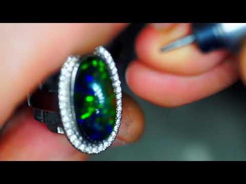 Black Opal Ring. Micro Pave Diamond Setting.