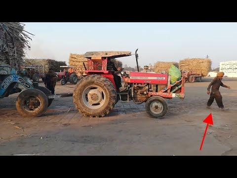 [Stupid Driver] Massey 375 Pulling 6 Wheeler Sugarcane Trolley in Madina Sugar Mill