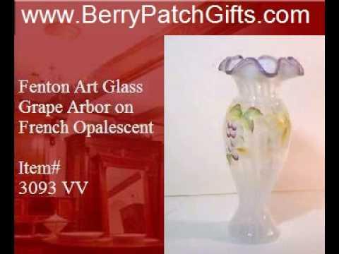 Fenton Art Glass Grape Arbor on French Opalescent Vase 3093 VV