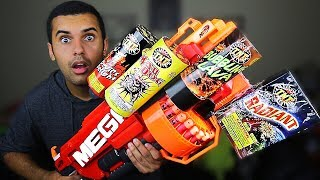 MOST DANGEROUS TOY OF ALL TIME 3.5!! (EXTREME NERF GUN / ZING BOW EDITION!!) FIREWORKS MOD!!