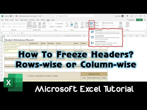 How To Freeze Rows and Columns Using Freeze Panes in Excel 2016 Tutorial | The Teacher