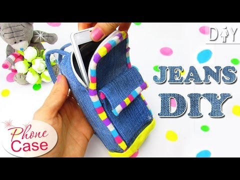 DIY JEANS BACKPACK PHONE CASE NO SEW TUTORIAL