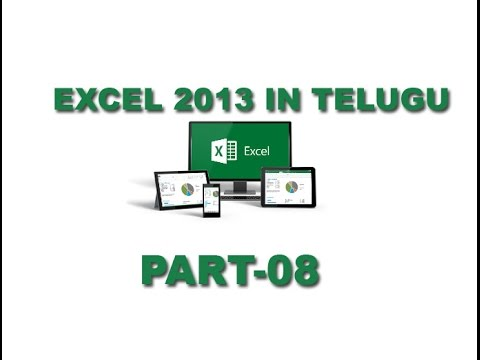 Ms Excel 2013 Basics In telugu Part 8