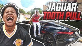 PUNISHMENT GONE WRONG!!! 😳😱 I PULLED HER TOOTH OUT WITH MY FTYPE JAGUAR!!!