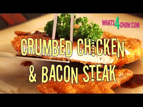 Crumbed Chicken & Bacon Steak. Crumbed Chicken Fillet Laminated with Bacon, Crumbed & Deep-Fried.