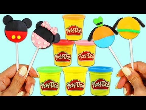 How to Make Disney Play Doh Lollipops with Mickey Mouse & Minnie Mouse Shapes!
