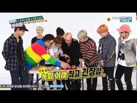 151216 Weekly idol BTS  - Rap monster cutting onions.