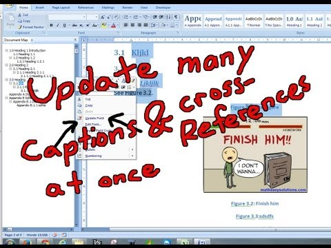 Update Many Captions and Cross References at Once in Microsoft Word