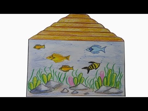How to Draw Aquarium | Learn How To Draw A Fish Tank