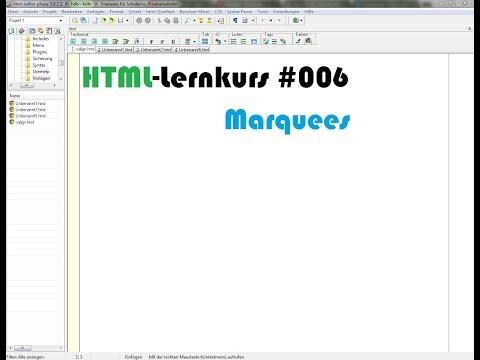 HTML-Lernkurs: Marquees (Textformatierung Teil II)[#006]
