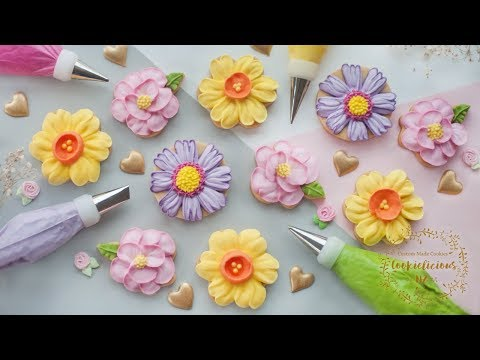 HOW TO PIPE ROYAL ICING TO MAKE 3 BEAUTIFUL FLOWER COOKIES ~ Camellia, Daffodil & Cosmos Flowers