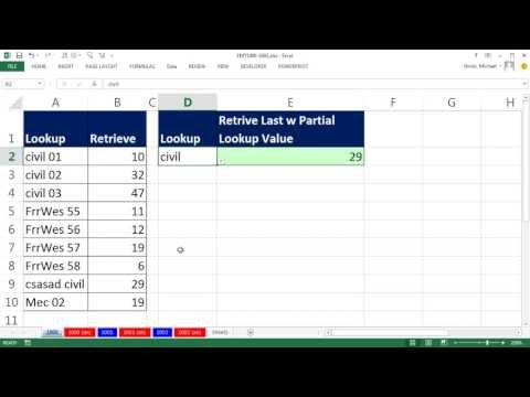 Excel Magic Trick 1000: Lookup Last Partial Text Item using SEARCH and LOOKUP functions
