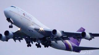 Sunset - Thai Airways International Boeing 747-400 (HS-TGO) takeoff from KIX/RJBB RWY 06R