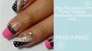 Flores Vintage Con Bordados Y Francés Rosa