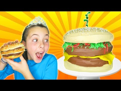 How To Make Giant Cheeseburger Cake   Kids Decorating With Frosting
