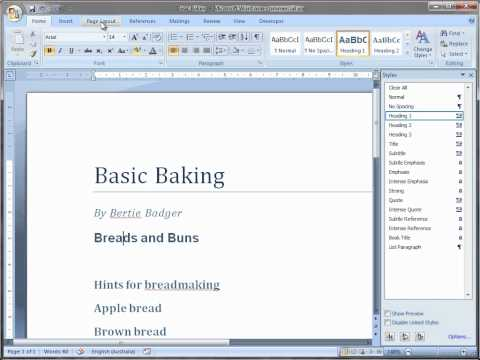 Quickly format a document in Word 2007