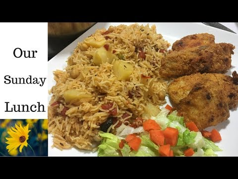 Potato and Chickpeas Pulao with Fried Fish | Our Sunday Lunch|