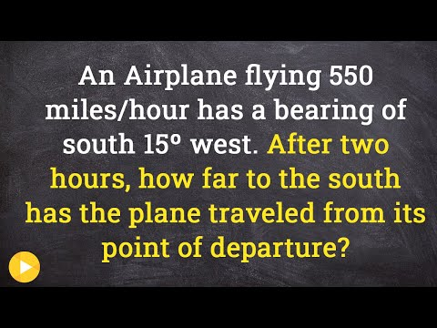 Finding the distance of a plane south give a bearing using trig