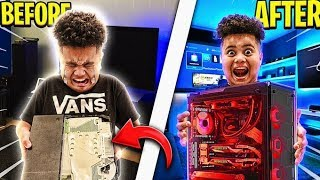 DESTROYING MY LITTLE BROTHERS GAMING SETUP \u0026 SURPRISING HIM WITH HIS DREAM PC!!! RAGING \u0026 EMOTIONAL!