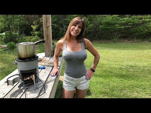 Rocket Survival stove 51 Year old Farm Girl cooks like survivalist, preppers and campers.