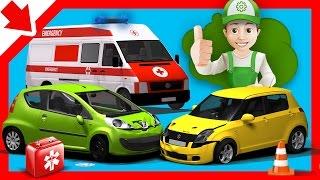 Rettungswagen für Kleinkinder. Trickfilm Unfall auto deutsch. Fur Kinder Autos kinderfilme deutsch.