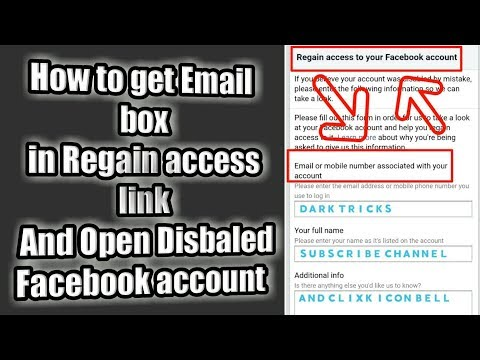 How to get #Email box in Regain access link  And Open Facebook  Disbaled Account
