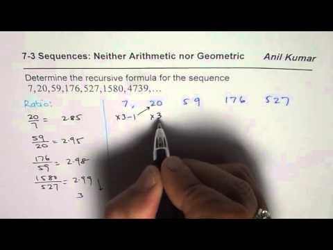 Find Recursive Formula for Discrete Sequence Not Arithmetic nor Geometric MCR3U