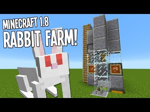 Minecraft Tutorial - Rabbit Farm! Breeder, Cooker, & Rabbit Foot Grinder!!! (Minecraft 1.8+)