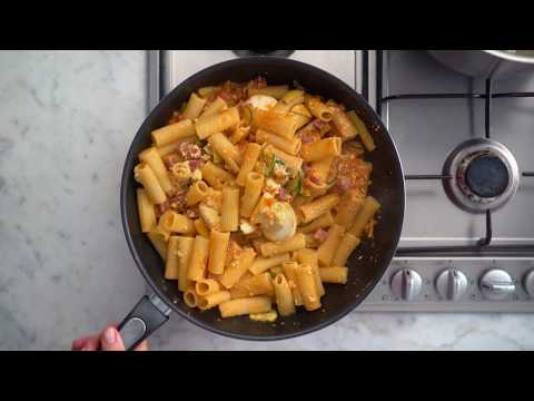 How to make Rigatoni Pasta Bake with Zucchini, Salami and Bolognese sauce