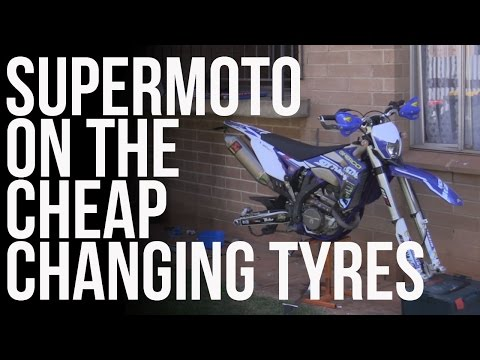 Supermoto on the Cheap || Changing Tyres