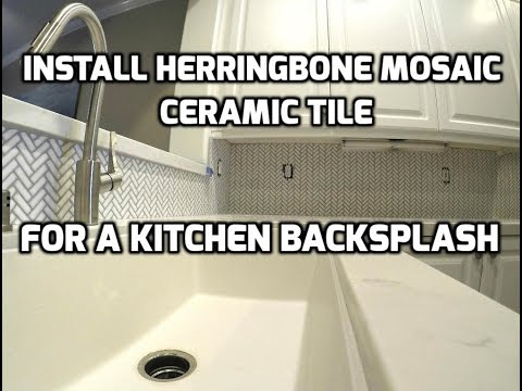 Install Herringbone Mosaic Ceramic Tile for a Kitchen Backsplash