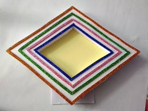 How to make hand made photo frame    simple and beautiful photo frame   diamond shape photo frame