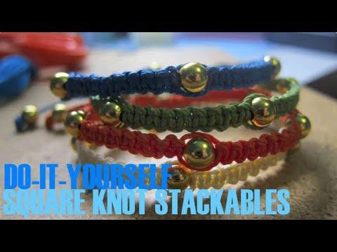 DIY: Square Knot Stackable Beaded Bracelets