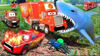 Disney Pixar Cars 3 Lightning McQueen Mater Mack Miss Fritter Chased Attacked FULL Kids Toys Movie!
