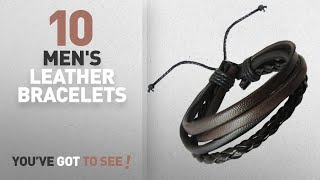 Top Selected Leather Bracelets For Men: Rich & Famous Bronze Leather Multistrand Bracelet For Men