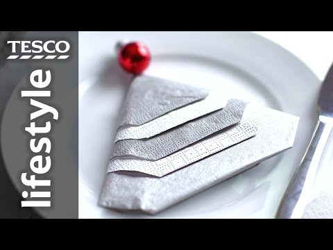 How To Fold a Napkin into a Christmas Tree | Tesco Living