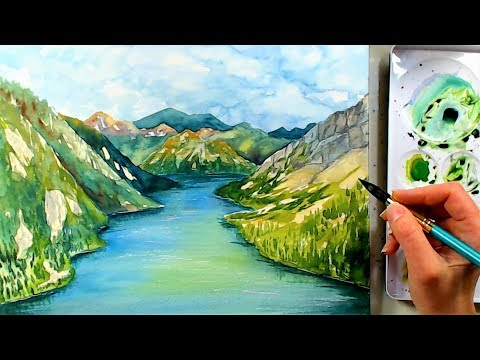 River and Mountain Landscape in watercolors (Beginner Watercolor Painting tutorial)