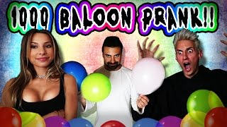 FILLED HIS BATHROOM WITH 1,000 BALLOONS!!!  ***PRANK WARS MARK VS GEORGE***
