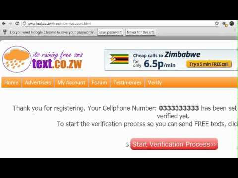 Register & Verify Cellphone number on FREE SMS Zimbabwe