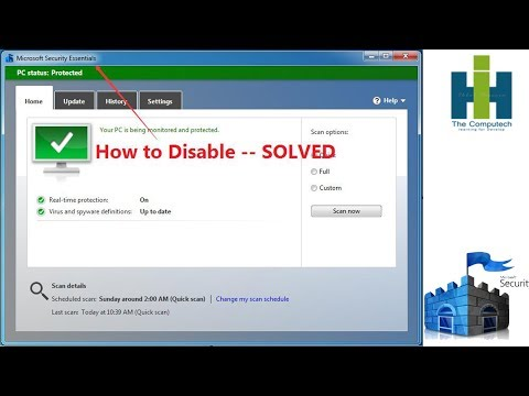how to disable microsoft security essentials windows 8