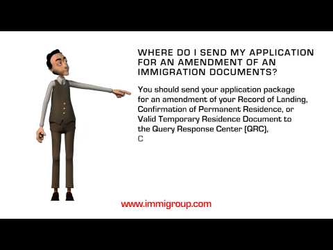 Where do I send my application for an amendment of an immigration documents?