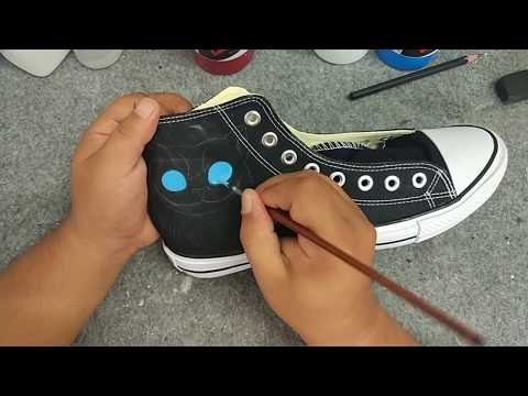 How to paint your own canvas shoes Converse All Star Hand Painted Shoes
