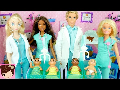 New Barbie Baby Doctor  - Dr. Elsa & Anna Take Care of Babies at Hospital Playset