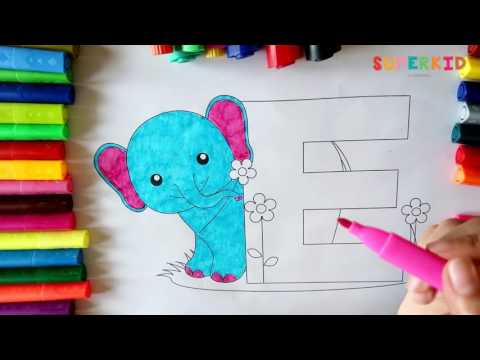 Coloring Letter E and a cartoon Elephant - Alphabet and Animals coloring Books for Kids
