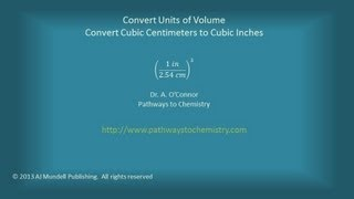 Convert Units Of Volume Cubic Centimeters To Cubic Inches